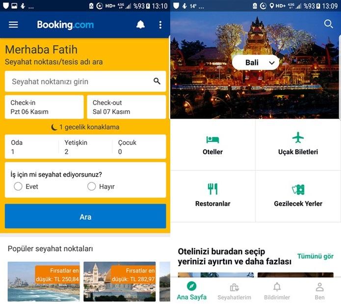 Booking ve Tripadvisor Uygulamaları