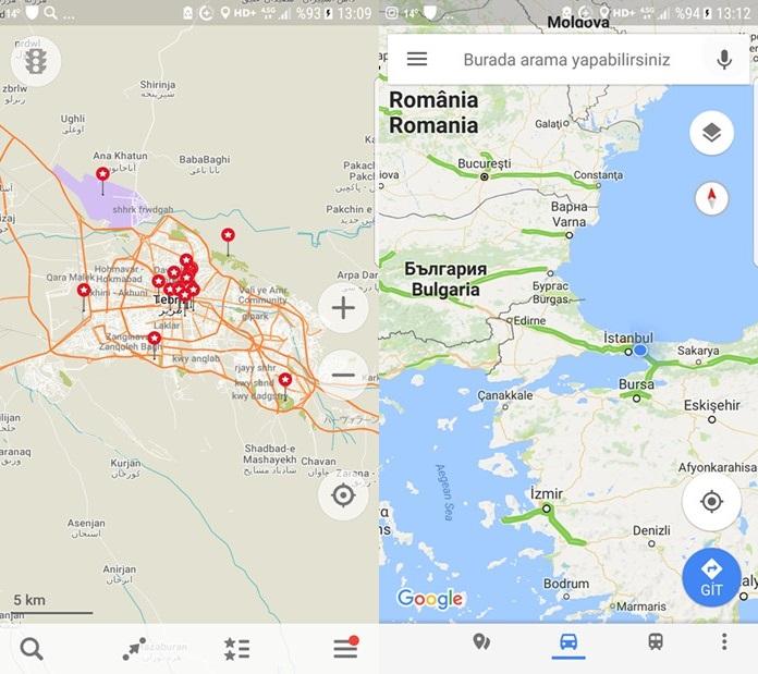 Mobil Harita Uygulamaları
