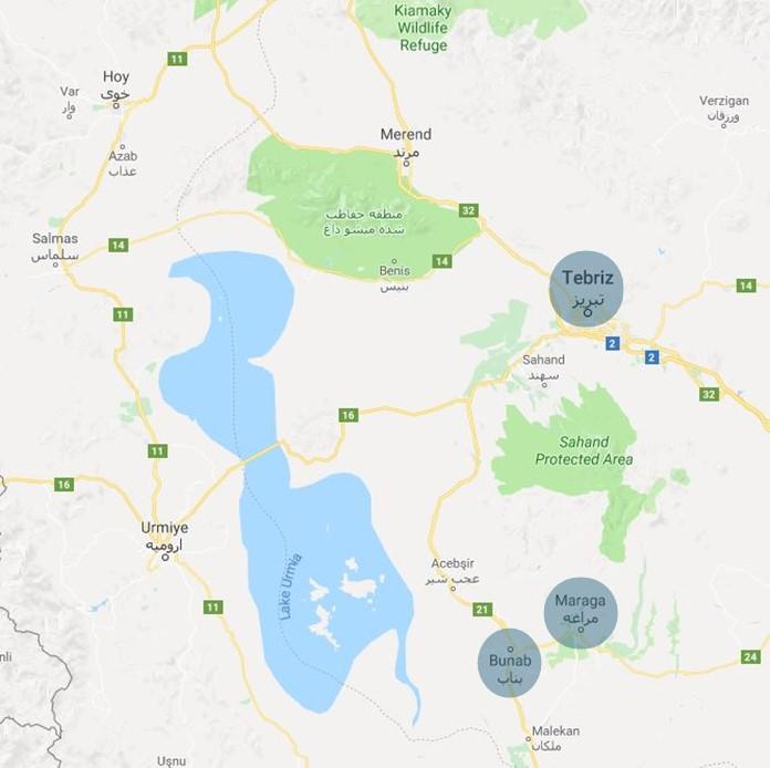 Meraga ve Bunab Gezi Notları, İran