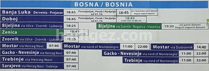 Kotor-Mostar Otobüs Saatleri