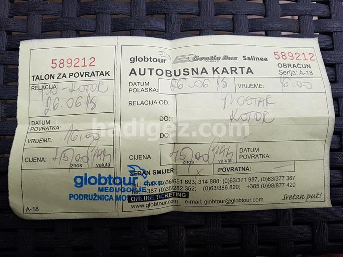 Mostar-Kotor Arası Otobüs Bilet Ücreti