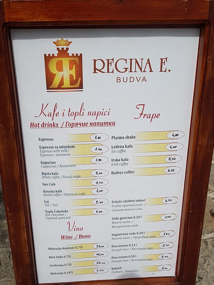 Budva Yemek ve Şarap Fiyatları