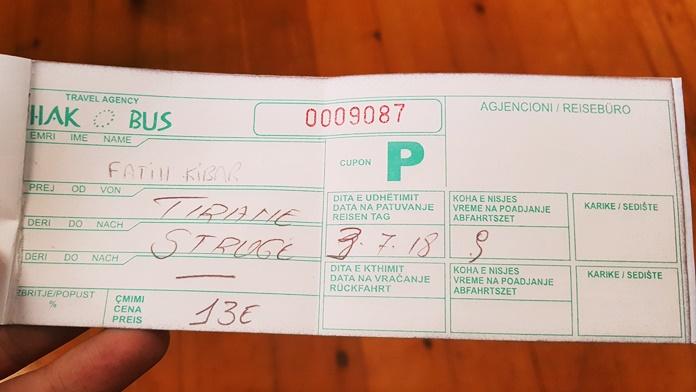 Tiran-Ohri Otobüs Bileti