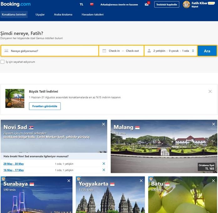 Booking.com ile otel rezervasyonu nasıl yapılır